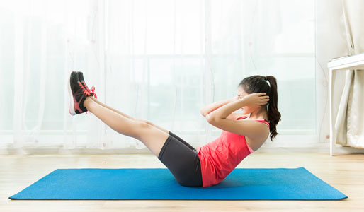 Image of lady exercising at home