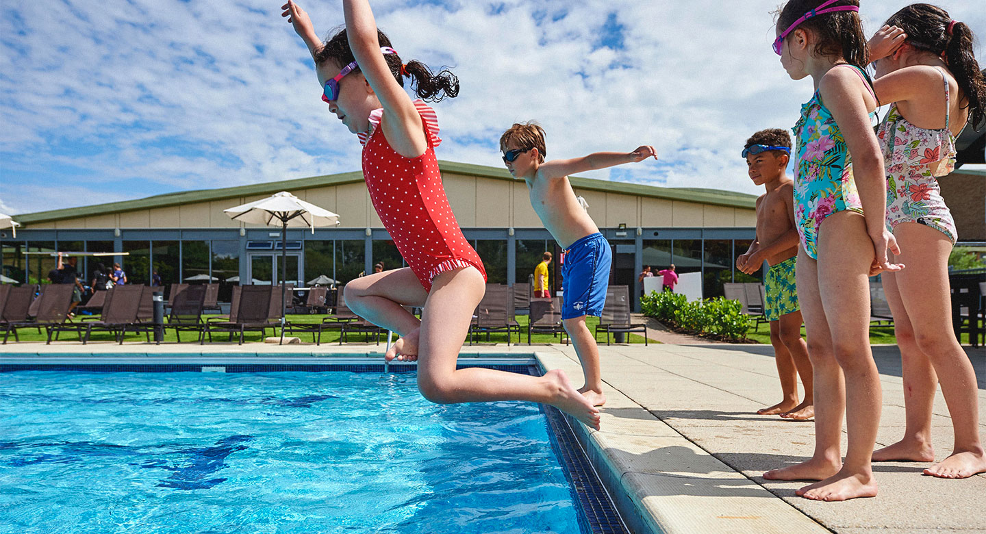 Outdoor pool jump
